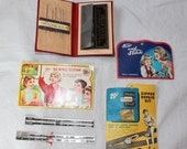 Box Lot of Vintage Sewing Supplies including Customer Appreciation Items, 1914 to 1950's