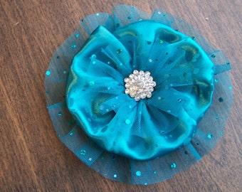 Jade Green Fabric Flower with Rhinestone Center