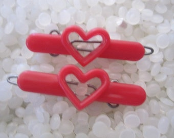 vintage barrette, 2  red hearts , rare pair