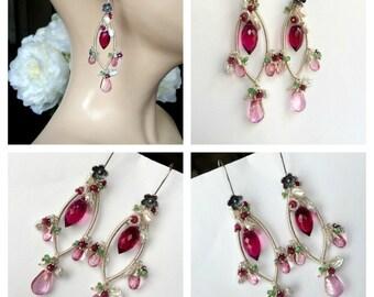Ruby Luxury Gemstone Chandelier Earring Wire Wrap Coil Silver Pink Topaz Keishi Pearl Tsavorite July Birthstone Pink Green