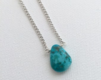 Everyday Turquoise Necklace. Sterling Silver Chain Necklace