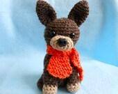 Crochet Dog with Orange Knitted Scarf, Canine, Stuffed Animal, Amigurumi, Handmade, Stuffed Dog, Puppy