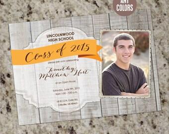 Rustic Barnwood Gradution Invitations or Announcements - Unisex - Printable Design DIY