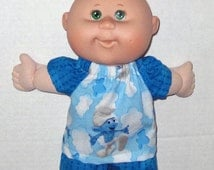 Cabbage Patch Newborn Doll Clothes Smurfette Short Set  10 or 11 inch  Doll Clothes