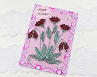 Card- Birthday- Paper Quilled -Paper Quilling- Birthday -Mom-Crimson Keepsake-Heartflowers - Handmade Paper Flowers- Australia