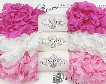 Seam Binding,Scrunched, Shabby Crinkled Ribbon,Fuchsia, Pink,White, Rayon Ribbon,Doll Making, French Vintage, Crazy Quilting French Sorbet