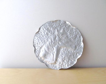 horse head hammered aluminum tray round silver plate 1960's craft project horse lover