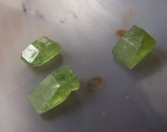 3 Peridot Crystals - terminated wedge shaped point - specimen - wire wrap jewelry supplies - raw rough  gemstone small - coyoterainbow GB7