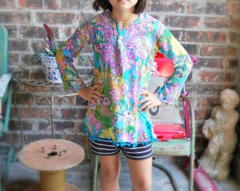 Upcycled Little Girls Boho Top - Ethnic Paisley and Floral Print - Size 8 to 10