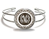 Monogram Bracelet, Brown Damask Monogram Bangle, Monogram Jewelry, Bridesmaid Gift, Personalized Bracelet - Style 598
