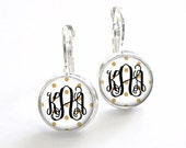 Gold Polka Dot Dangle Earrings, Bridesmaid Gift, Monogram Jewelry, Personalized Earrings, French Earrings (526)