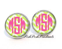 Lime Chevon Hot Pink Monogram Earrings (419)