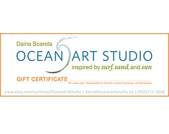 GIFT CERTIFICATE - Customizable, Redeemable for Artwork, Workshops, and Custom Paintings (No Expiry Date!)