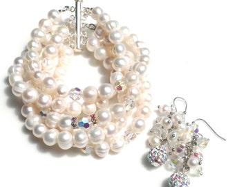 Wedding bracelet, Freshwater pearls, aurora borealis fire polish glass handmade bracelet and earring set