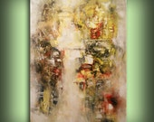 art large oil acrylic abstract painting wall decor wall art home decor wall hanging original painting texture neutral beige taupe yellow 36""