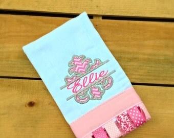 Pink and Gray Damask burp cloth