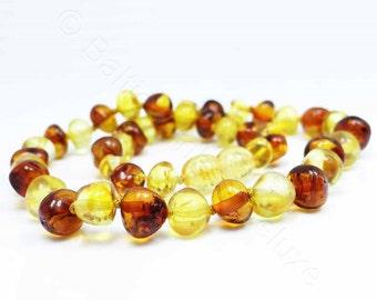 Honey & cognac amber teething necklace - BAROQUE beads