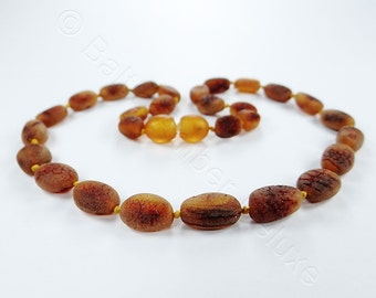 Amber teething necklace red raw OLIVE beads