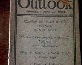 Vintage Outlook Magazine June 1908 Illustrated Antique Advertising Ephemera Royal Baking Powder