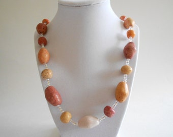 Orange Necklace Ceramic Beads Orange Beads Beaded Necklace Rust Beads Beige Beads Gold Tone Findings