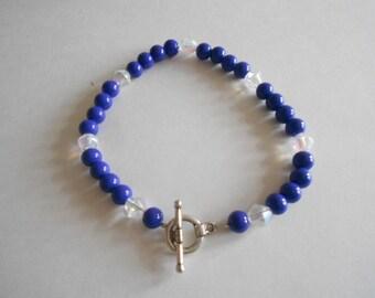 Blue Beads Bracelet Clear Beads Bracelet Blue Bracelet Glass Beads Bracelet Blue Glass Beads Clear Glass Beads Silver Tone Findings