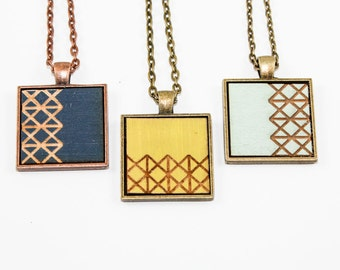 Asymmetrical Geometric Pendant - Laser Engraved Hand painted Wood (Choose Your Color / Made to Order)