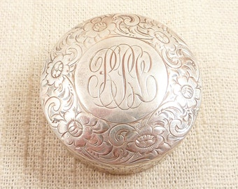 SALE ---- Antique Shreve, Crump & Low Co. Sterling Floral Engraved Monogrammed Pill Box with Gilt Interior