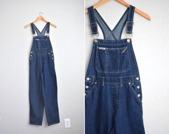 vintage '90s dark BLUE DENIM baggy fit OVERALLS. size s.