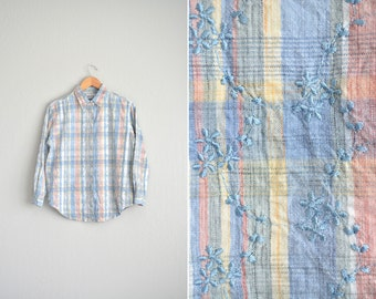 Size S/M // SALE // PASTEL PLAID Button-Up Shirt // Long Sleeve - Embroidered - Gardening Top - Vintage '90s.