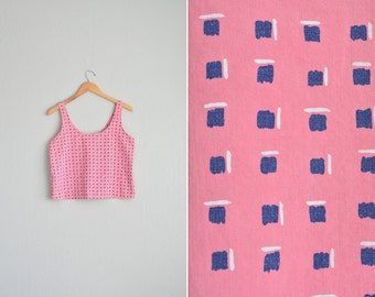 vintage '80s PINK GEOMETRIC patterned BOXY cropped tank top. size s m.