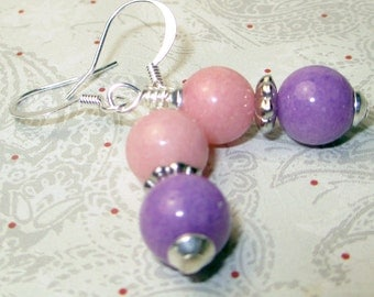 Pink and Purple jade bead earrings, jade beaded earrings, pink earrings, purple earrings, summer time color earrings