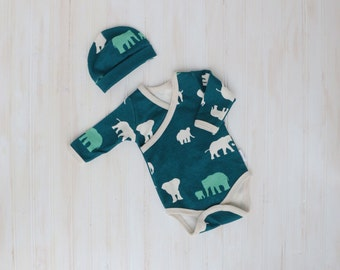 Organic Baby Kimono Onesie - Baby Outfit - Going Home Outfit - Layette -  Baby Shower Gift - Zaaberry - Newborn - Elephant - MADE TO ORDER