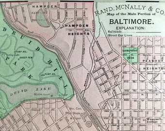 1900 Antique Map of Baltimore, Main Portion
