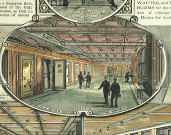 1888 Antique Engraving - Art Nouveau - Chancery Lane Safe Deposit Company - Bank - Strong Rooms - Gold - London . Matted and framed