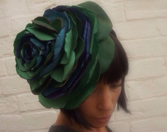 Giant recycled leafy green recycled vintage fabric and leather giant rose flower headpiece summer wedding