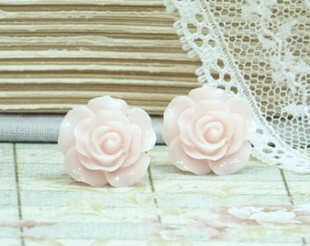 Light Pink Earrings Rose Stud Earrings Pink Rose Earrings Hypoallergenic Pink Flower Earrings Pink Rose Studs