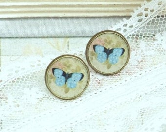 Blue Butterfly Earrings Insect Jewelry Butterfly Studs Woodland Jewelry Nature Earrings Butterfly Jewelry