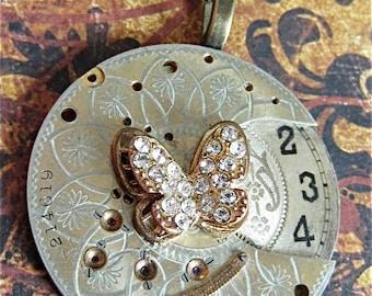 Steampunk pendant - Pocket watch parts - Flutter - Steampunk - Repurposed art