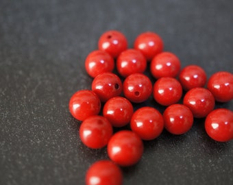 Natural Genuine Rich Fire Red Round Coral Half Drilled Beads for Earrings - 5mm - 4 pcs or 2 pairs