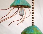 Jellyfish Fan Pull, Light Pull, Beachy Pull, Sea Life Accents, Coastal Chic, Copper Jellyfish, Shell Fan Pull