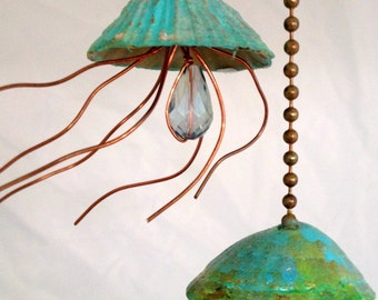 Jellyfish Fan Pull, Light Pull, Beach Decor, Sea Life Accents,  Copper Jellyfish, Fan Pull, hostess gift