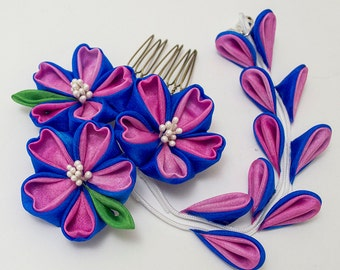 Mini Blue Sakura Bright Days Tsumami Kanzashi Silk Hair Comb