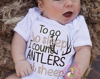 Camo Baby shirt ~ Hunting baby ~ To Sleep Count Antlers ~