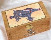 Yoga Art Box. Elephant Art Box. Zendoodle Art Box. Woodburned Box. Pyrography Box.