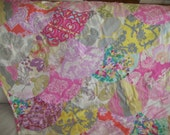 Patchwork Quilt, Throw Quilt,  Lap Quilt, Clam Shell Quilt Pink & Yellow Amy Butler Fabric