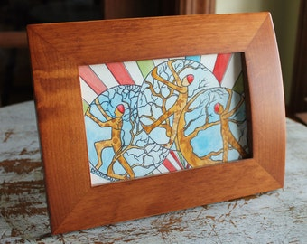 "Original Watercolor 4"" x 6"" Whimsical Tree Fairies"