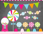 INSTANT DOWNLOAD Lollipop Digital Clip Art Set - Commercial or Personal Use - by Sweet Papers, Hot Pink Blue Lime Orange Pennant Gumball