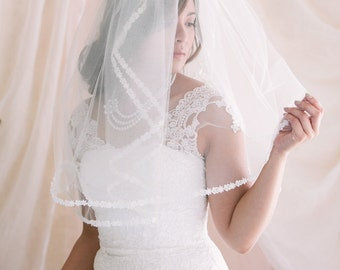 2 Tier Wedding Veil with Venice Lace Edge, Blusher Veil, Bridal Veil, Wedding Veil