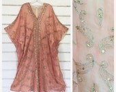 VITAGE 70s INDIA silk embroidered caftan dress RARE beauty