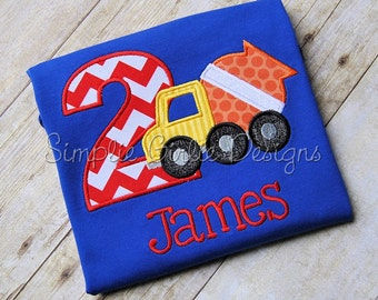 Custom construction birthday shirt. Cement mixer. Personalized. Sizes 12m to boy's small. Other colors and sizes available.